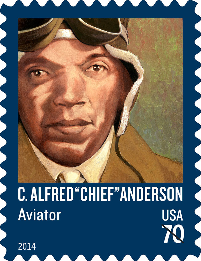 "C. Alfred ""Chief"" Anderson, chief flight instructor of the prestigious Tuskegee Airmen, was immortalized on a stamp March 13. Copyright 2014 U.S. Postal Service."