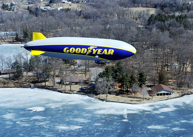 The Goodyear 'Blimp' makes its first flight over Ohio on March 17. Photo courtesy of Goodyear Tire and Rubber Co.