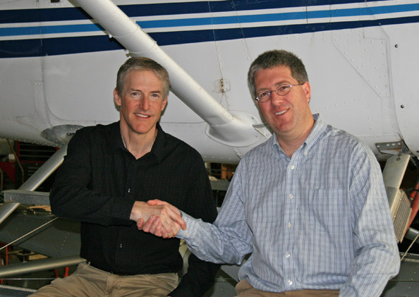 Erik Lindbergh, left, and Eric Bartsch are joining hands to advance the mission of Powering Imagination. Photo courtesy of Powering Imagination.