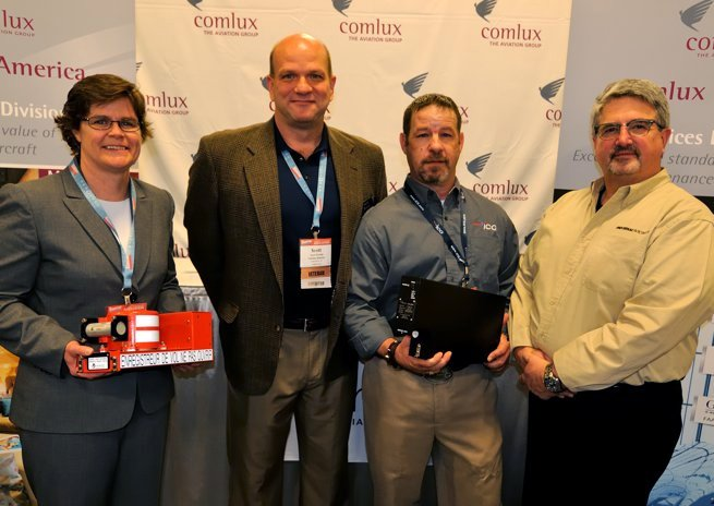From left, Kim Stephenson of L-3 Aviation Products, Scott Brooks of Comlux, Adam Tsakonos of ICG, and Bruce Bunevich of Universal Avionics.