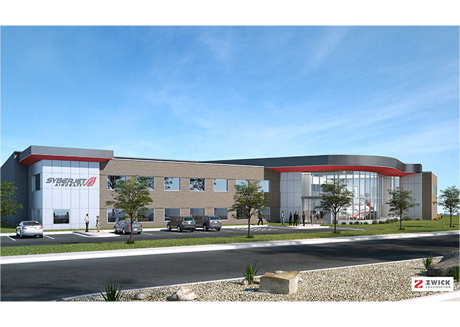 Rendering of the SyberJet completion and delivery center courtesy of SyberJet Aircraft.