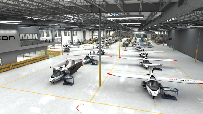 Icon Aircraft announced May 14 that it will move to a 140,000-square-foot facility in Vacaville, Calif. Image courtesy Icon Aircraft.