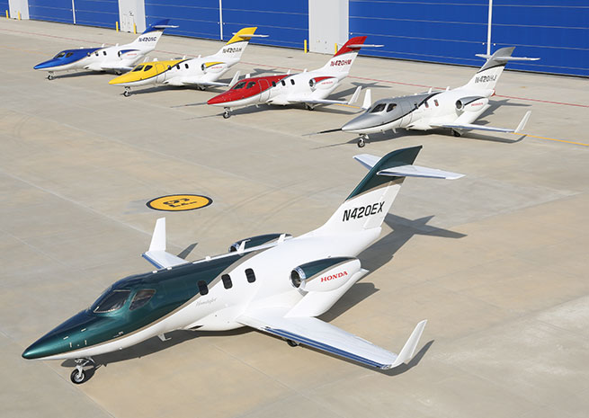 Honda Aircraft Co. has added a new color option (deep pearl green) to the HondaJet lineup. Honda Aircraft Co. photo.