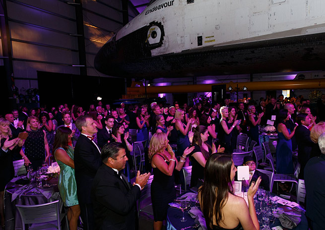 Samuel Oschin Space Shuttle Endeavour Pavilion at the California Science Center. Photo courtesy Angel Flight West.