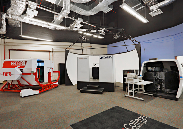 The renovated and expanded Vaughn College includes a new flight simulator room. Photo by Tom Sibley/Wilk Marketing Communications