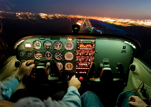 Aircraft landing at night are particularly vulnerable to laser attack. AOPA file photo.