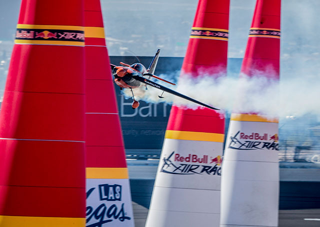Nicolas Ivanoff of France navigates the Red Bull Air Race World Championship course at the Las Vegas Motor Speedway Oct. 12. Andreas Langreiter photo courtesy of Red Bull.