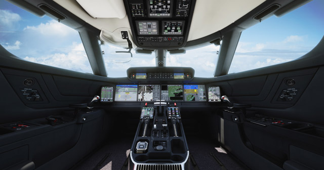 The Honeywell Symmetry Flight Deck is based on Honeywell's Epic platform. Photo courtesy Gulfstream Aerospace Corporation.