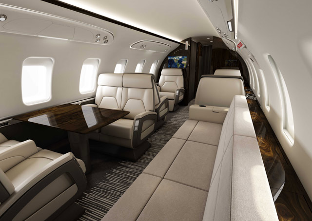 Interior view of the Challenger 650 announced at NBAA 2014. Image courtesy of Bombardier.