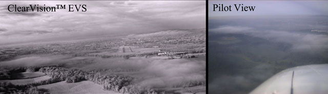 The view from Elbit Systems' Enhanced Vision System (EVS) camera.