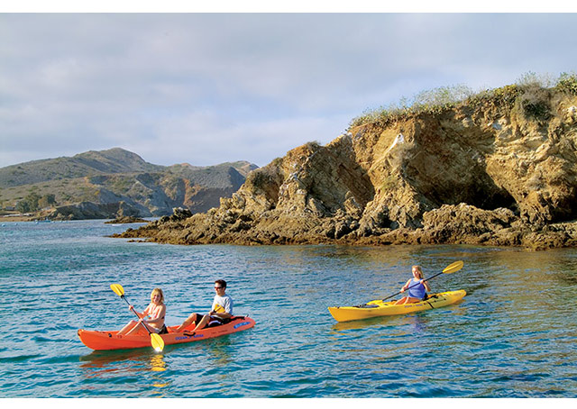 Visitors can enjoy kayaking in secluded coves. Photo courtesy Santa Catalina Island Company.
