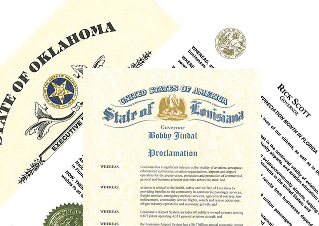 Fresh proclamations in Florida, Louisiana, and Oklahoma recognize the value of aviation.