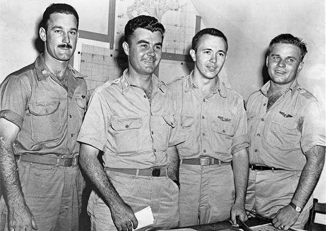 "Officers of the Enola Gay: (left to right) Major Thomas W. Ferebee, bombardier; Col. Paul W. Tibbets, Jr., pilot; Capt. Theodore J. ""Dutch"" Van Kirk, navigator; and Capt. Robert Lewis, co-pilot. Photo from the National Air and Space Museum Archives, Smithsonian Institution."