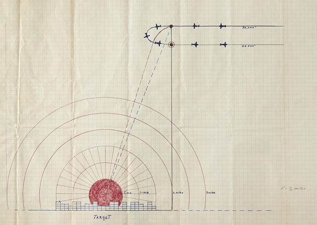 Capt. Robert Lewis' diagram of the Hiroshima bomb plan is among many documents from his collection being auctioned April 29. Photo courtesy of Bonhams.