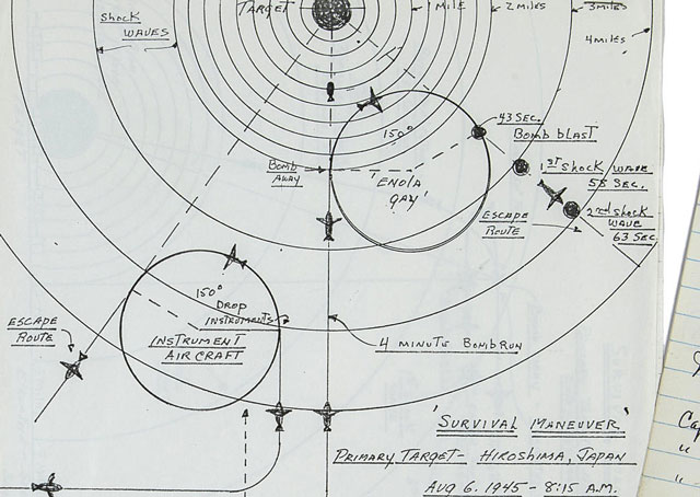 A manuscript page by Robert Lewis details velocities of the shock wave, and time taken to hit the Enola Gay as it headed home. This and other documents are being auctioned April 29. Image courtesy of Bonhams.