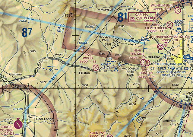 A modern sectional chart depicts the MacDonald Pass beacon at center, just west of Helena. It was briefly stricken from the chart, but added back a few years ago when state officials told the FAA the beacons remain operational.