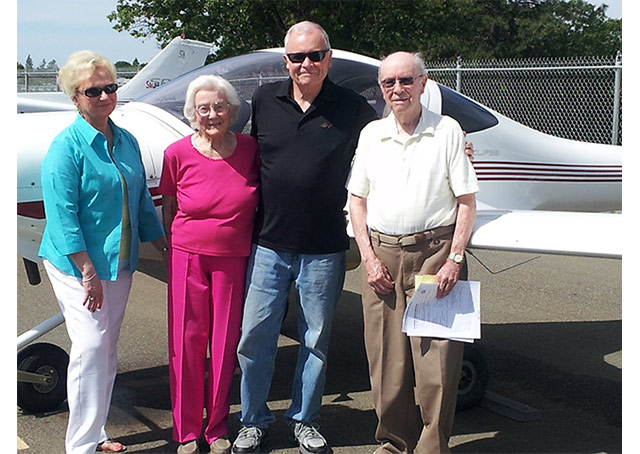 From left, daughter-in-law Darlene, wife Ruthie, Son Pete III, and the man of the hour, Lt. Col. Peter Weber, Jr., USAF, Ret. Photo courtesy of Darlene Weber.