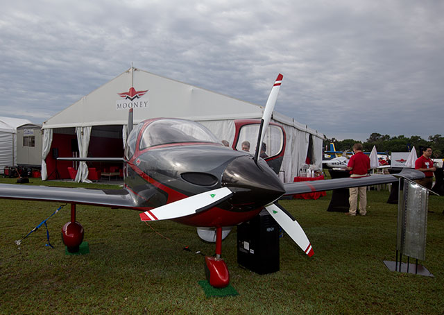The Mooney M10J mockup on display at Sun 'n Fun.