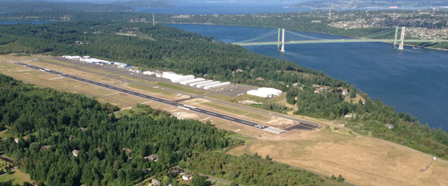 An aerial view of Tacoma Narrows Airport. Photo courtesy Warren Hendrickson.
