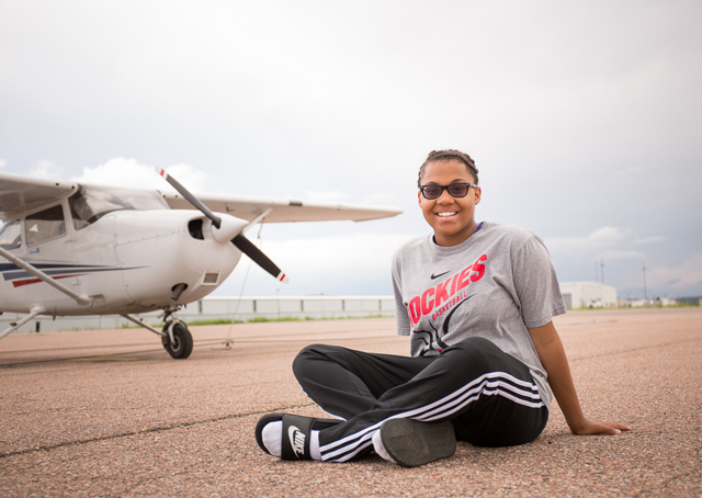 Amanda Robinson, one of the High Hopes for Teens participants at Colorado Springs Municipal Airport, counts learning to fly among her many extracurricular activities, which include basketball, church choir, and Key Club. Photo by Mike Fizer.