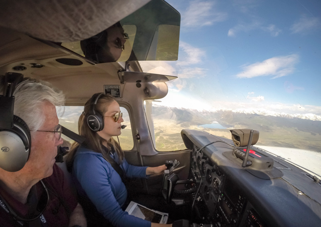 Peak Aviation Center Assistant Chief Flight Instructor Jim Van Namee leads the author on an orientation mountain flying lesson.