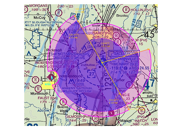 Salem, Oregon's, Class D airspace was expanded to the northwest and southwest to accommodate IFR operations.