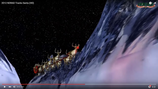 A frame from a 2012 version of NORAD's Santa Tracker.