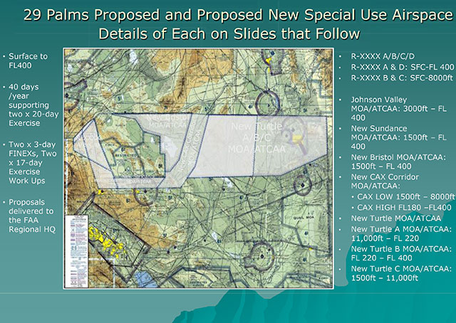 A U.S. Marine Corps brief from November 2014 details the planned airspace changes.