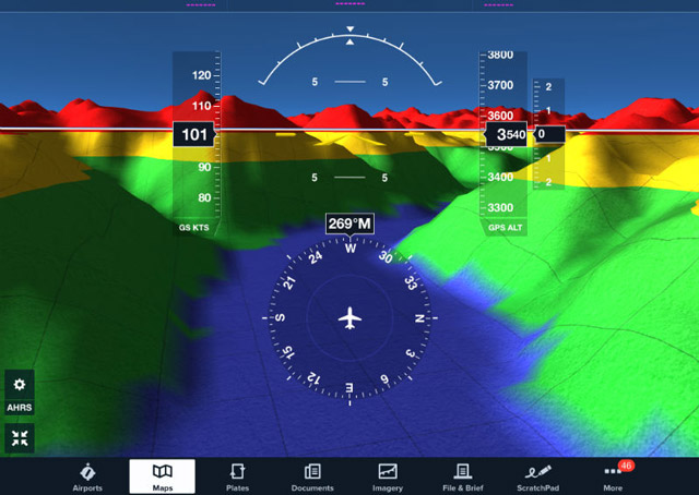 The Stratus 2 uses GPS, a database and internal AHRS sensors to create a 3-D picture of terrain and obstacles on iPads running ForeFlight. Image courtesy of Sporty's Pilot Shop.