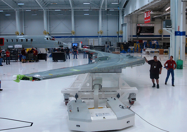 Bombardier announced 1,000 job cuts in Mexico and Wichita, Kansas, where the Learjet 85 assembly line (seen here in a 2012 photo) never got up to speed. Photo courtesy of Bombardier.