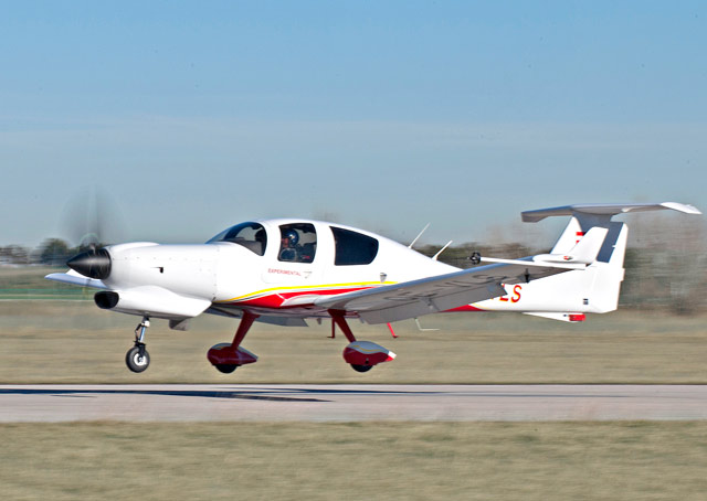 The Diamond DA50-JP7 powered by a turbine engine made its maiden flight Jan. 19. Photo courtesy of Diamond Aircraft.