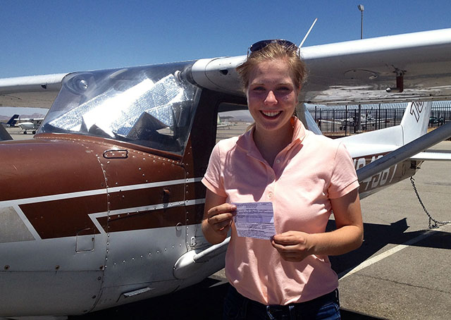 Two days before her eighteenth birthday Anna Weilbacher completed her private pilot check ride to earn her certificate at Fox Airfield in Lancaster, California. Photo courtesy of Anna Weilbacher.