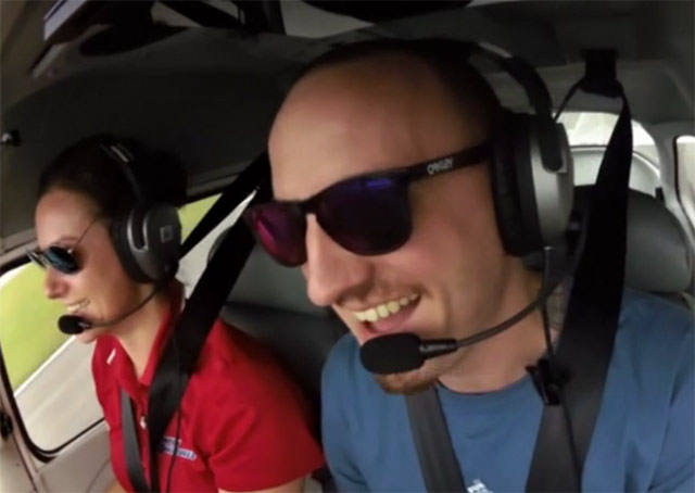 Chris Graves giggles with excitement through his first takeoff in the One Week Ready to Solo project.