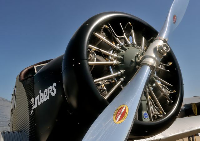 The F13 replica is powered by a Pratt and Whitney R-985 radial.