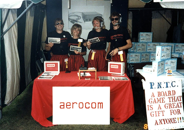 The red and black baggy pants in 1986 were supposed to draw attention to PS Engineering, Inc. at the company's shared Fly-Market booth at Oshkosh. Photo courtesy of PS Engineering, Inc.