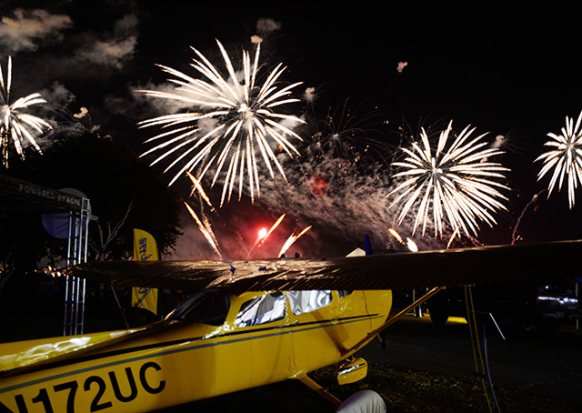 Fireworks explode over the Yingling Ascend 172 Cessna at the AOPA campus.