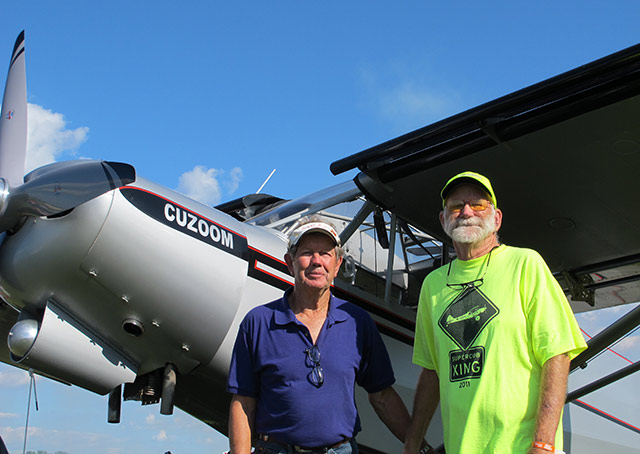 "Ed Doyle (left) once won his category in the Valdez STOL competition flying Mike Olson's experimental aircraft called ""Cuzoom."" Olson built the experimental from scratch."