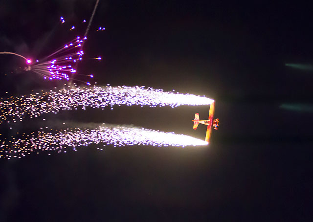 Gene Soucy performs in the night show at EAA AirVenture 2012. File photo.