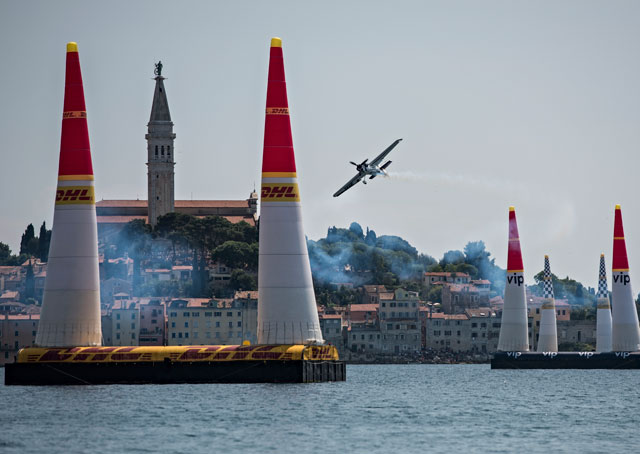 Michael Goulian of the United States performs during the finals of the third stage of the Red Bull Air Race World Championship in Rovinj, Croatia on May 31, 2015. Photo by Sebastian Marko/Red Bull Content Pool.