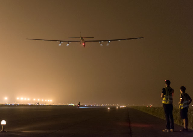 Solar Impulse 2 lifts off from Nanjing, China on May 30 (May 31, 2:39 a.m. local time). Photo courtesy of Solar Impulse.