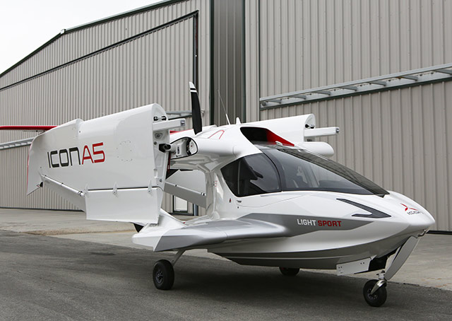 Icon's A5 folds its wings for transport. Photo courtesy Icon Aircraft.