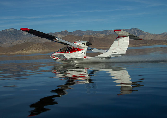 The Icon A5 skims the water. Photo courtesy Icon Aircraft.