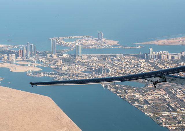 Si2 was test-flown over Abu Dhabi in the days leading up to departure. Photo courtesy of Solar Impulse.