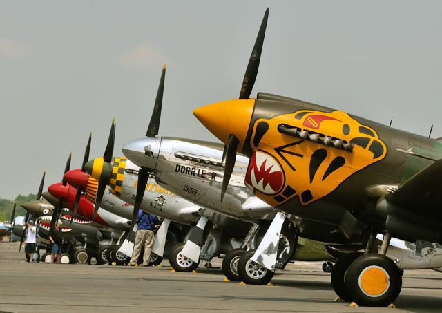 Warbirds rest at Culpeper, Va., after completing the practice flight.