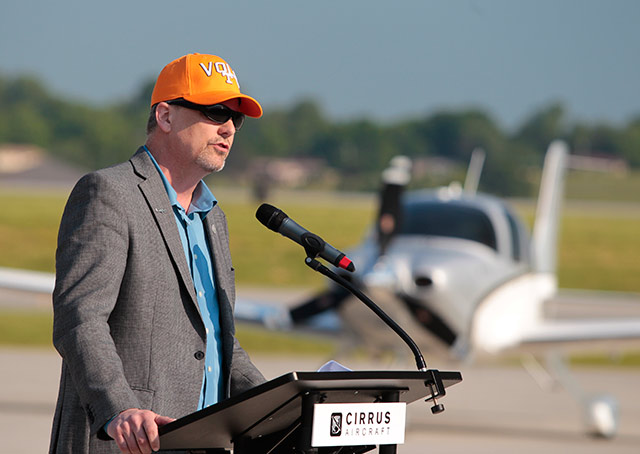Cirrus Aircraft CEO Dale Klapmeier shows his support for the home team.