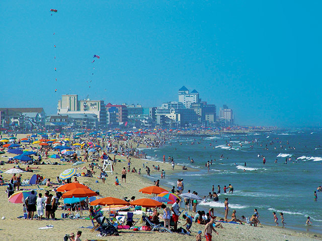 Crowds flock to the beach in the summer months. Photo courtesy of Town of Ocean City Tourism Office.