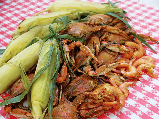 Local fare: Seafood and Maryland steamed crabs. Photo courtesy of Town of Ocean City Tourism Office.