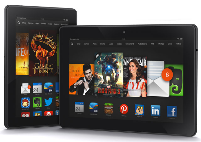 Amazon's Kindle Fire series tablets come in various sizes, starting at $50. Photo courtesy of Amazon.