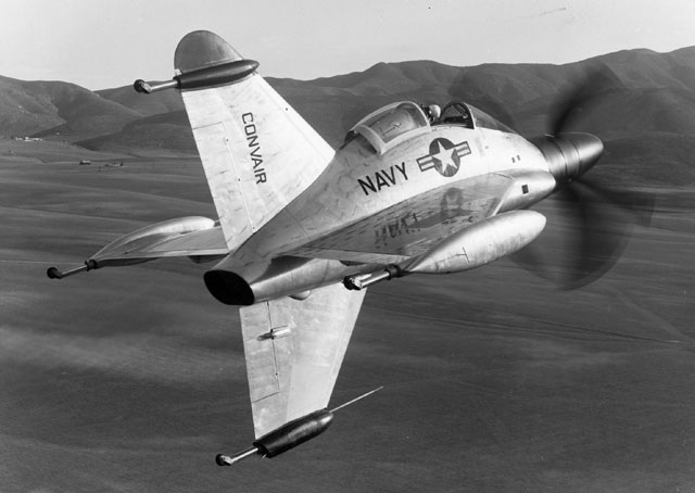 The Convair XFY-1 Pogo flew briefly in the 1950s before being abandoned as a military aircraft. It had three-bladed contra-rotating props powered by a 5,500 hp turboprop engine. Photo from the Sand Diego Air and Space Museum archive, public domain.