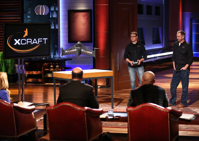 JD Claridge and Charles Manning demonstrate the X PlusOne on Shark Tank. Photo courtesy of Disney/ABC Television Group.